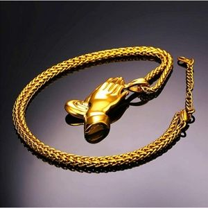 "Mens ""Damon"" 18K Gold Plated Prayer Hands Necklace"